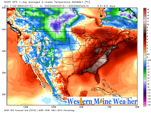 12z GFS Temperature Anamoly Forecast for Monday