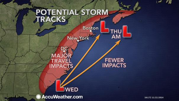 Thanksgiving Storm Track Potentials and Impacts. Map Courtesy of: AccuWeather