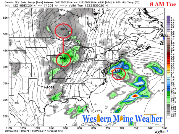 12z Canadian GGEM Model Idea at 8 AM Tuesday