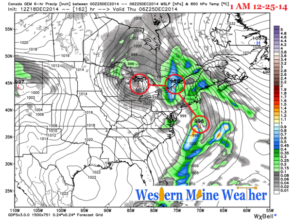 12z Canadian GGEM Model IDEA at 1 AM Christmas Day