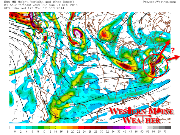 12Z GFS Showing 500mb Heights and Vorticy for 7PM Sunday