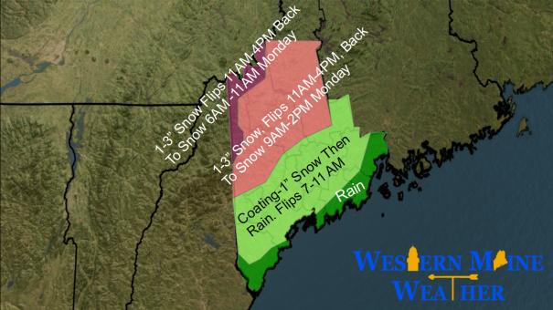 Precipitation Idea Sunday Into Monday AM (Courtesy of Jack Sillin)