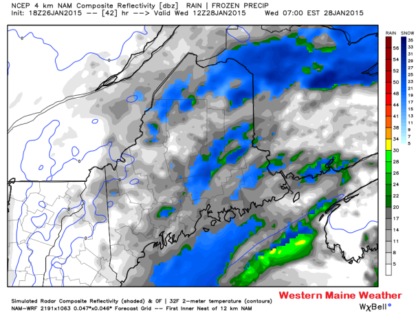 18z NAM Simulated Radar at 7 AM Wednesday