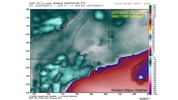 12Z Feb 20 GFS Model IDEA of Low Temperatures Saturday Morning
