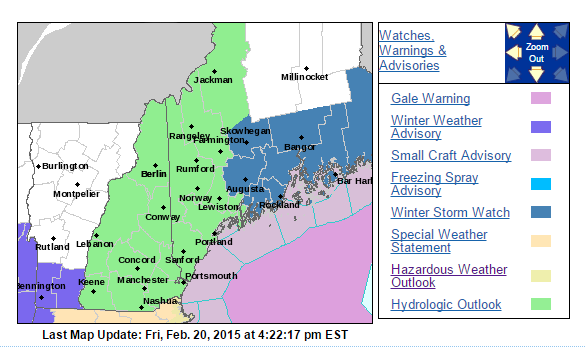 NWS Watches as of 4:30 PM EST Friday, February 20th 2015