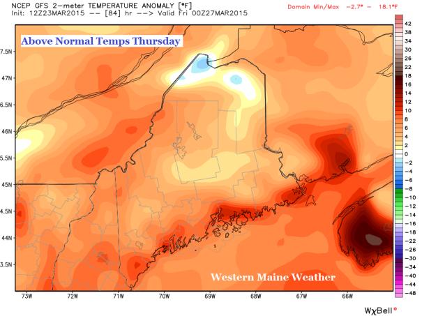 12z GFS Model IDEA of Temperature Anamoly at 8 PM Thursday