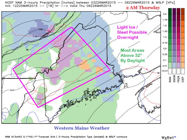 12z NAM Forecast IDEA of Precipitation Type at 2 AM Thursday
