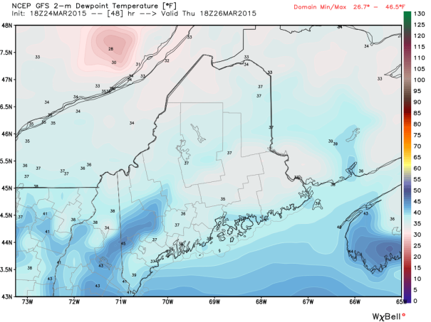 12Z GFS Model IDEA Of Dewpoings Thursday Afternoon